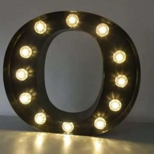 letterlamp bakletter O voorkant aan