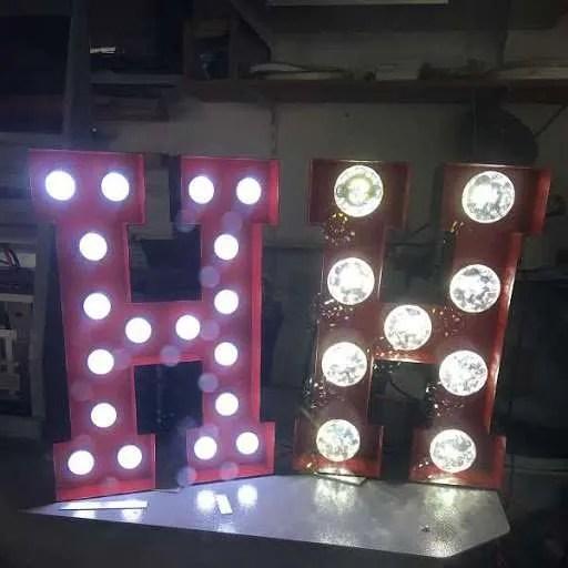Letterlampen staal prefab BINK lampen