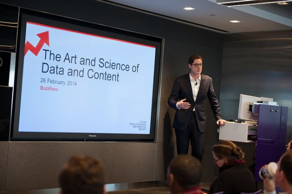 Ky Harlin, BuzzFeed's Data Science Director, speaks at the Data + Content Variety Show, organized by NYC Media Lab and hosted by Bloomberg on February 25, 2014.