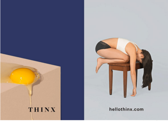 A Thinx ad where a runny egg barely drips over the side of a box.