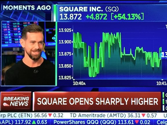 Jack Dorsey took Square public with an overvalued IPO and rang the bell at the NYSE on Nov. 19, 2015.