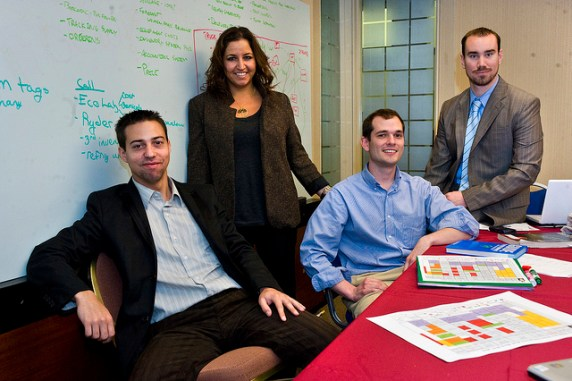 From left, Tulane University MBA students Xavier Cabo, Ruth Yomtoubian, Ashton Prat and Jon Atkinson work at the Idea Village office to consult with a local entrepreneurial business during Entrepreneur Week.