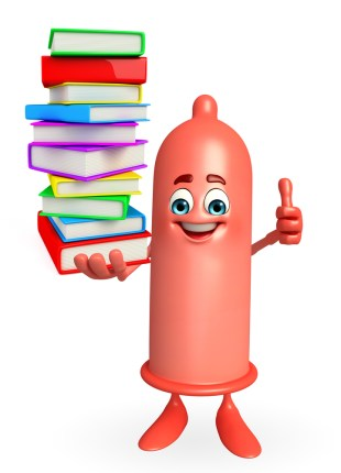 An animated condom holding a pile of books and giving a thumbs-up.