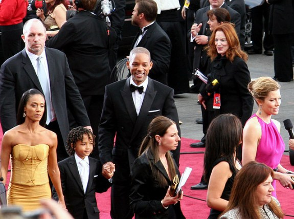 Will Smith, his son Jaden Smith, and his wife Jada Pinkett-Smith arriving at the 2007 Academy Awards. Smith and his wife are boycotting the ceremony this year to protest the exclusion of actors of color from nominations.