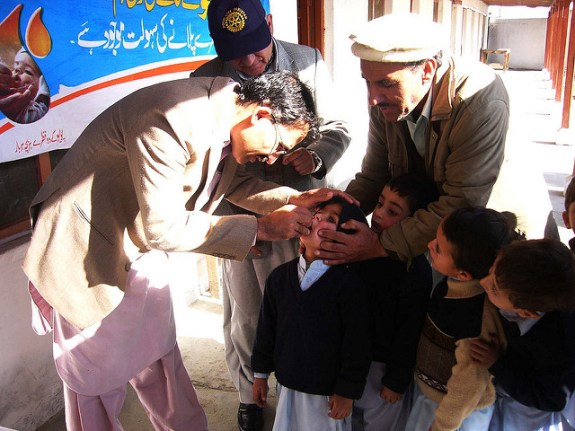 Students at Chitral public school and college receive their polio vaccine as part of a three-day door-to-door vaccination campaign.