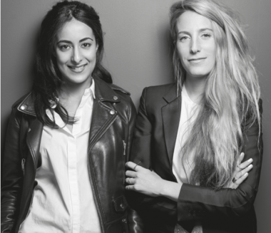 A black-and-white photo of Sophie Kahn and Bouchra Ezzahraoui.