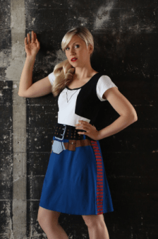 Ashley Eckstein models a fandom dress.