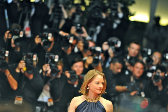 Commanding the attention of countless photographers, Jodie Foster arrives at the screening of the film Melancholia at the Cannes Film Festival in 2011.