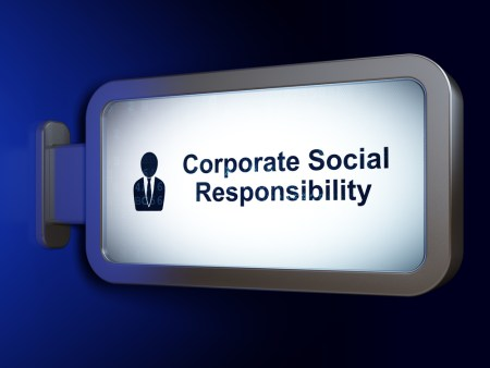 "A sign that reads, ""Corporate social responsibility."""