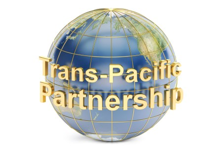 "An image of a globe with the words ""Trans-Pacific Partnership"" written across it."