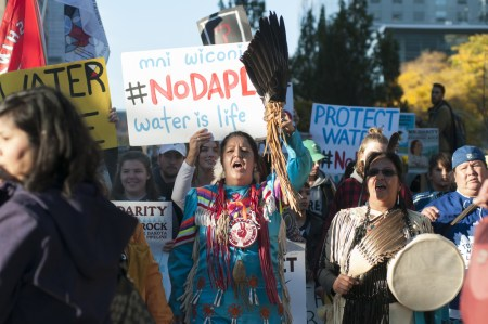 Indigenous people protesting the Dakota Access Pipeline project.