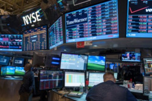 A photo taken from inside the New York stock exchange.