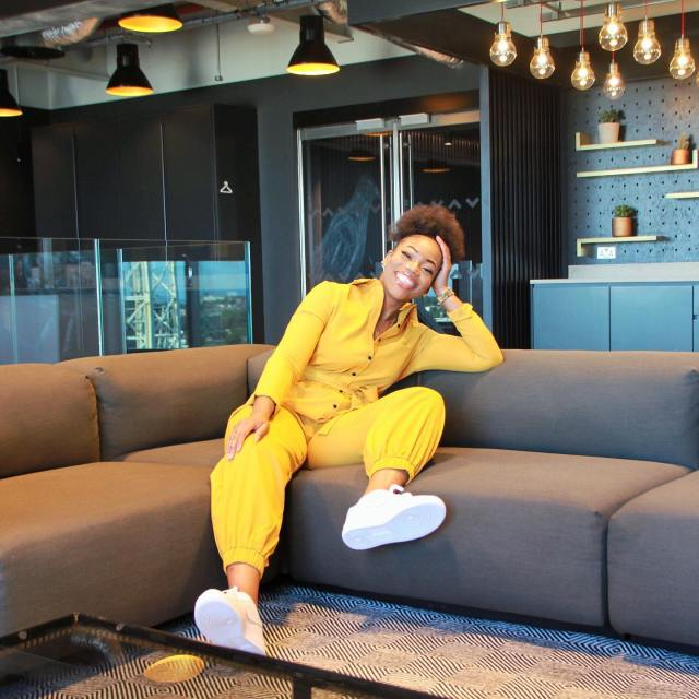 Teeyana Aromi in a yellow jumpsuit These Are The UK Entertainment Industry's Women To Watch In 2020