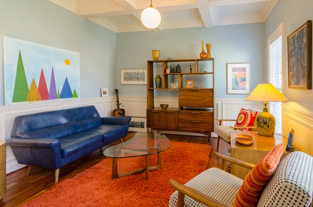living room ideas with a blue sofa