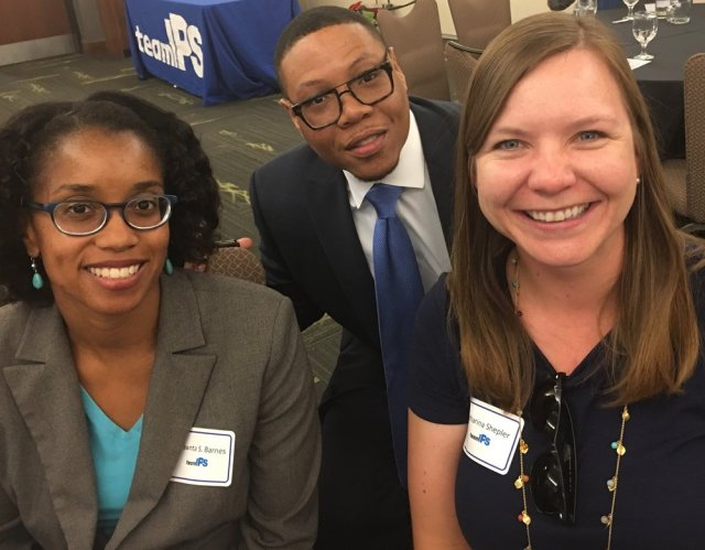 Shawnta S. Barnes, Dr. Lewis Ferebee IPS Superintendent & Katharina Shepler at the inaugural Teacher Leader Kick-off Dinner