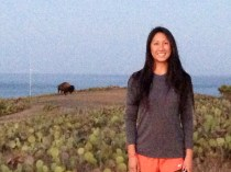 Kelly and bison at sunset!