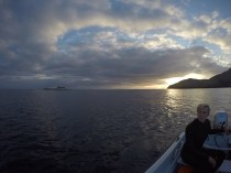 Out on the boat at dawn to collect urchins.