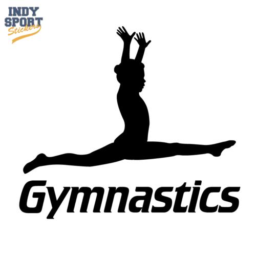 I Love Gymnastics Text with Silhouette Female Gymnast