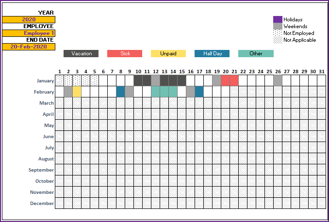 2020 Leave Tracker Vacation Tracker Free Excel Template