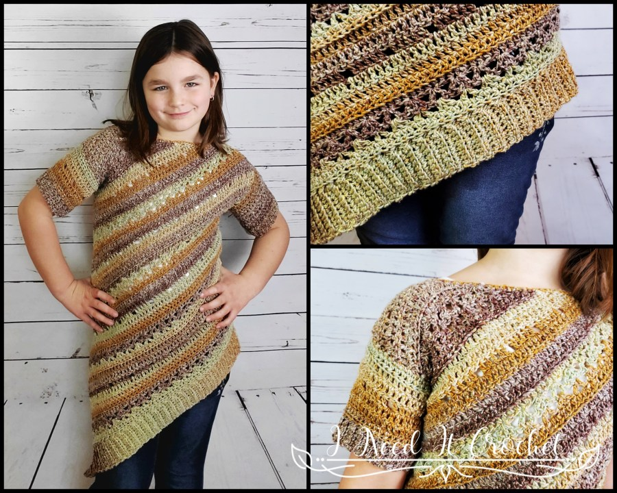 Tilted Tunic (Child/Youth) - Free Crochet Sweater Pattern
