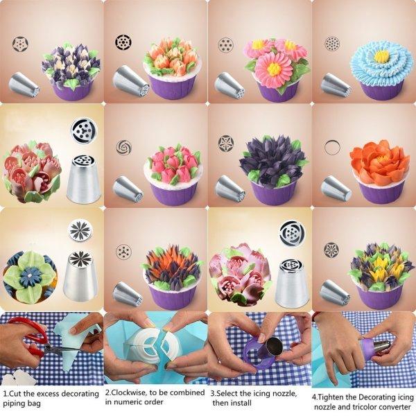 Cupcakes Decoration 23-Pcs Set SASRL Russian Piping Tips For Cupcakes Decoration 23-Pcs Set (12 Russian Tips 10 Disposable Pastry Bags 1 Tri-Color Coupler).