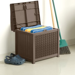 Mocha Resin Wicker 22-Gallon Storage Seat