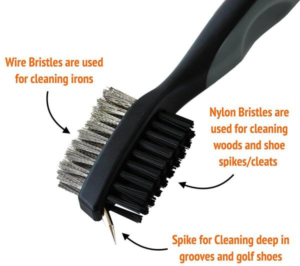 Golf Brush and Club Groove Cleaner - Easily Attaches to Golf Bag