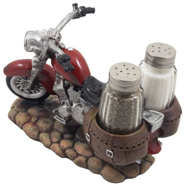 Decorative Red Motorcycle with Glass Salt and Pepper Shaker