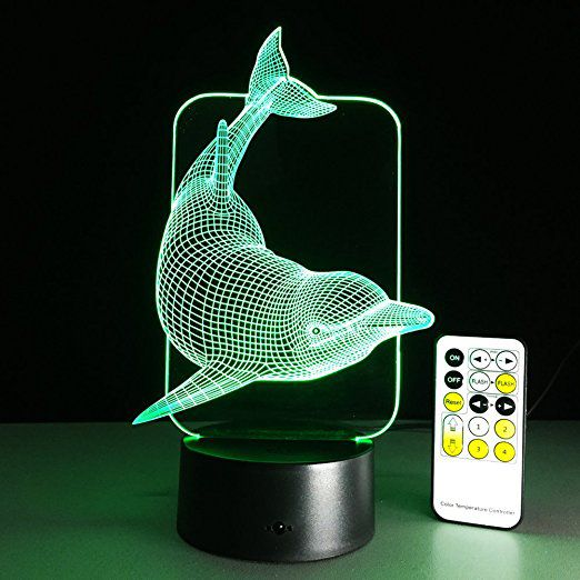 Kids Night Light Animal Dolphin 7 Colors Change with Remote Control Kids Night Light Animal Dolphin 7 Colors Change with Remote Control Gifts for Kids or Animal Lover Gift Ideas by Easuntec (Dolphin).