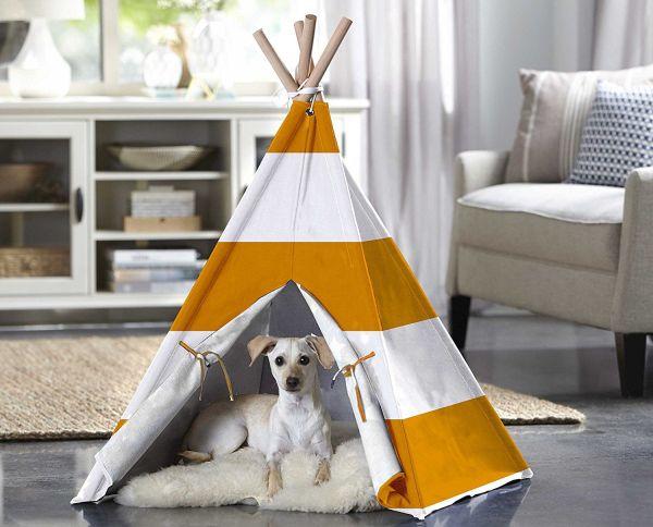 Merry Products Orange Stripe Pet Teepee