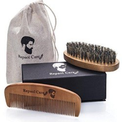 Beard Brush and Beard Comb kit for Men Grooming, Styling & Shaping