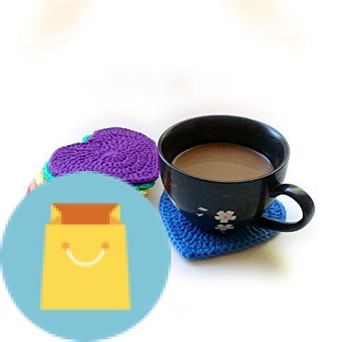 Crochet rainbow heart coasters