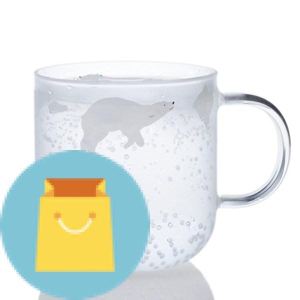 ELITEA Glass Mug with Handle with Polar Bear Print Coffee Mugs