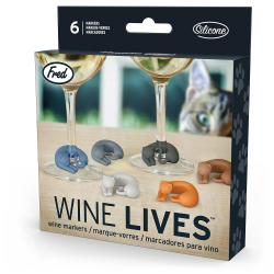 Fred WINE LIVES Kitty Drink Markers Fred WINE LIVES Kitty Drink Markers, Set of 6