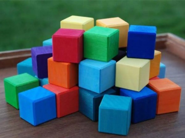 Grimm's Large Mosaic Square Building Set of 100 Wooden Cube Blocks