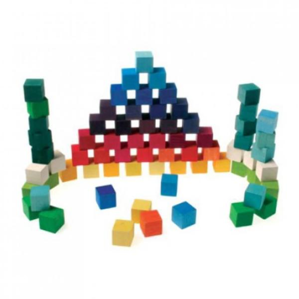 Grimm's Large Mosaic Square Building Set of 100 Wooden Cube Blocks Grimm's Large Mosaic Square Building Set of 100 Wooden Cube Blocks with 17-inch Storage Tray, 4x4 Size.