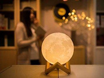 MiniTeasure Baby Moon Night Lamp ABS with Wooden Stand