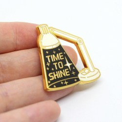Space inspired enamel pin inspirational lapel pin time to shine
