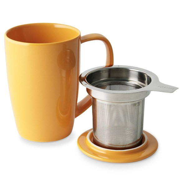 FORLIFE Curve Tall Tea Mug with Infuser and Lid 15 ounces