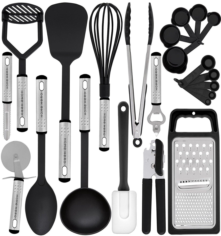 kitchen utensil set gray subway tile 23 nylon cooking utensils best offer