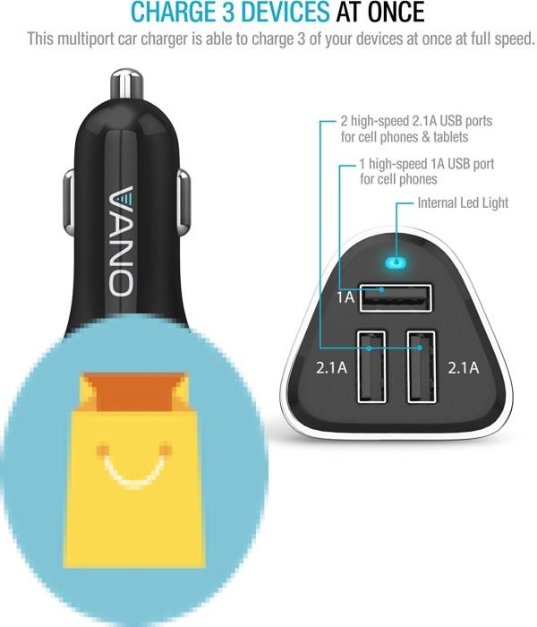 Vano USB Cigarette Lighter Charger 3 Port USB