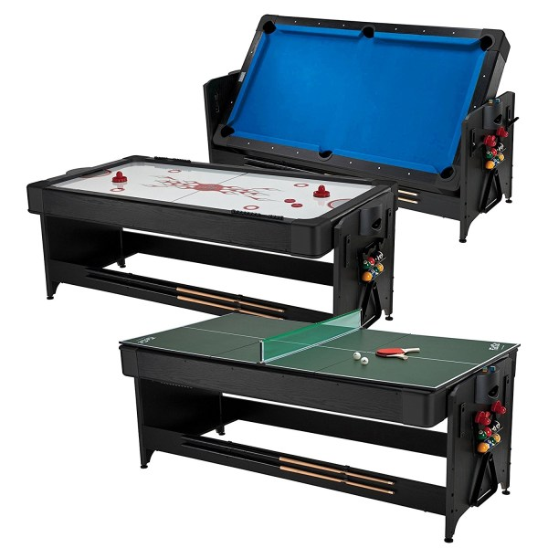 3-in-1 Air Hockey, Billiards, and Tennis Table Fat Cat Pockey 7ft Black 3-in-1 Air Hockey, Billiards, and Tennis Table.
