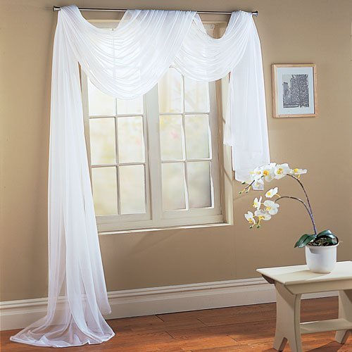 Beautiful White Elegance Window Sheer Voile Scarf