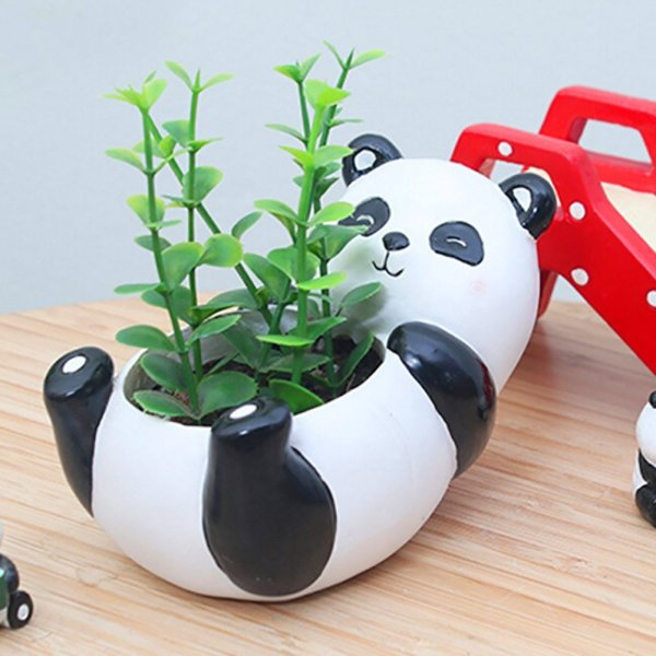 Cute Panda Succulent Pots with Drainage Resin Mini Flower Pot