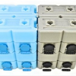 Emergency Water and Food Storage Container WaterBrick Stackable Emergency Water and Food Storage Container, 3.5 gal of Liquid, 27 lb of Dry Food Products, Blue.