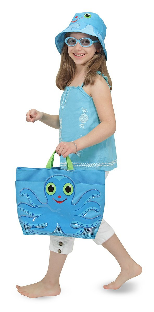 Octopus Large Beach Tote Bag With Mesh Panels