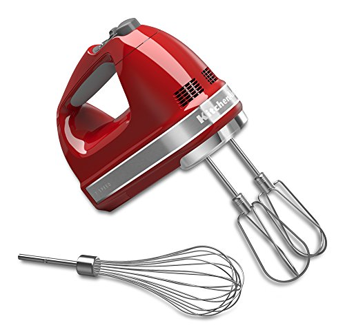 KitchenAid 7-Speed Digital Hand Mixer with Turbo Beater II Accessories and Pro Whisk - Empire Red