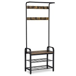 Removable Hooks Coat Rack Bench with 2-tier Shoe Rack Entryway Storage Shelf