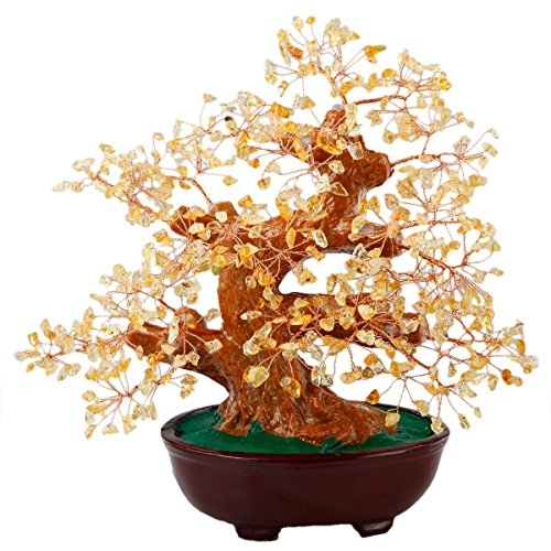 Citrine Money Tree Bonsai Tumbled Crystal Lucky Fengshui Healing Decoration