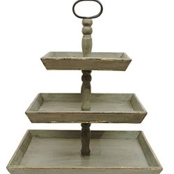 Creative Co-Op Bungalow Lane Grey Square Decorative Wood Three-Tier Tray